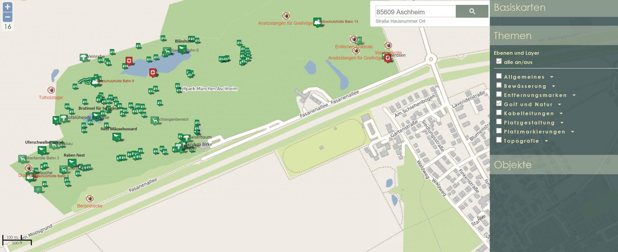 Golf-Anlagen-Verwaltung mit geo-basierten Informationssystemen